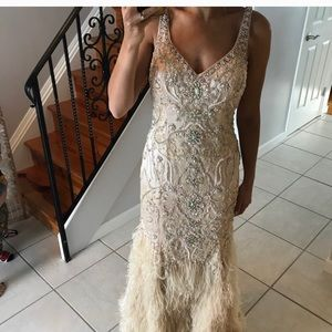 Terani Stunning Sequin + Feather Champagne Gown 6